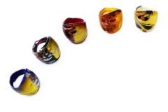 IV08-a Кольцо Павлиний хвост муранское стекло 5 цветов