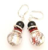 2012-75/maz(2) Серьги цвет красный с серебром муранское стекло