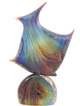 """TP13(2) Скульптура на подставке """"Рыба"""" h35cм с кальцедоном муранское стекло"""