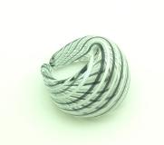DM06a Кольцо с черно-белой филигранью муранское стекло