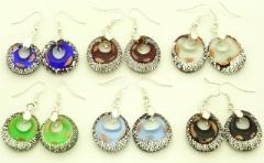 VB02-o Серьги с серебром  6 цветов муранское стекло