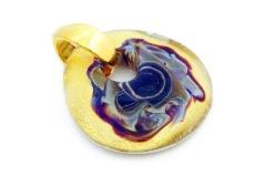ZN06 Подвеска-медальон Кальцедон  размер 4,5 х 5 см муранское стекло