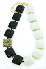 Vac/С9248 Колье двухцветное Черное и белое 45+5 см муранское стекло