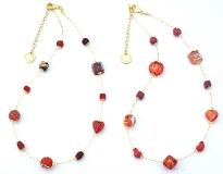 Vac/С9031/45 Колье Нежность 45см цвет красный и коралл муранское стекло