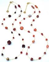 Vac/С9031 Колье Нежность 85см цвет красный и коралл муранское стекло