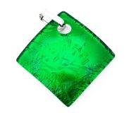 Арт. 02 зеленый - подвеска 4x4 см муранское стекло