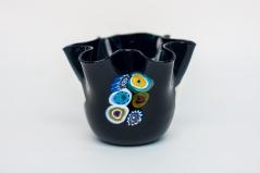 Ваза фацалетти черная малая h 11 см. Фабрика Murano Design