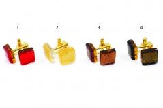 Арт.00 Запонки 1,5х1,5см с золотом (теплый тон) муранское стекло