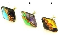 Vac/A8628 Кольцо в форме ромба 3 цвета муранское стекло