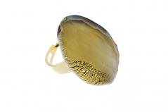 RS31 Кольцо Грани цвет золото муранское стекло
