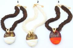Vac/С7542 Колье Гемма на бисере цвет слоновая кость и оранжевый муранское стекло