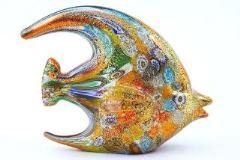 MD03 Статуэтка Рыба H9 L12cm с мурринами и золотом муранское стекло