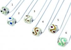 TR33/1** Кулон-бусина-цилиндр на цепочке муранское стекло