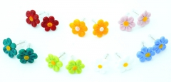 VB16 Серьги-гвоздики Маргаритка (диам.1,4 см) 7 цветов муранское стекло