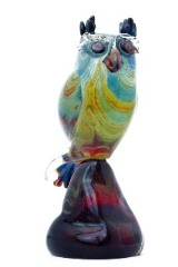 """TP14 Скульптура на подставке """"Сова"""" 26 cм с кальцедоном муранское стекло"""
