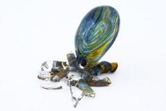 GRos05 Статуэтка Осьминог с кальцедоном 6-8 см муранское стекло
