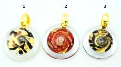 VC22 Подвеска Атолл диаметр 5см, цвет канта прозрачный муранское стекло