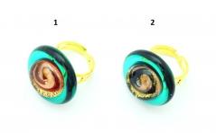 VC22 Кольцо Атолл диам. 2,5см, кант цвета морской волны муранское стекло