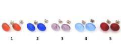 RD17 Серьги-гвоздики Самоцветы (1) диам.12 мм муранское стекло