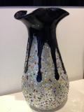 Ваза черная в серебре с мурринками (наружу), h- 30 см, фабрика Murano Design, ручная работа