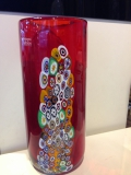 Ваза красная с серебром h - 30 см, фабрика Murano Design, ручная работа