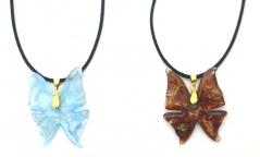 VB20 Подвеска Бабочка на атласном шнуре 2 цвета муранское стекло