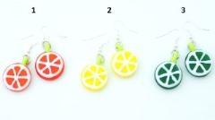 LV14-LV13-LV12 Серьги Цитрус - апельсин, лимон, лайм 2 см муранское стекло