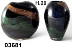 SM3681 Ваза стеклянная 2 форм с полосой авентуринового стекла