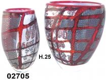 SM02705 Ваза стеклянная с серебром и красной паутинкой 2 формы