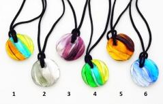 VM0376 Подвеска круглая Витраж на шнурке 6 цветов муранское стекло