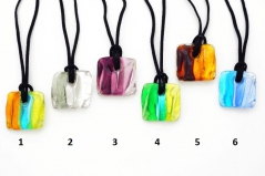 VM0376 Подвеска квадратная Витраж на шнурке 6 цветов муранское стекло