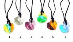 VM0376 Подвеска-сердце Витраж на шнурке 6 цветов муранское стекло