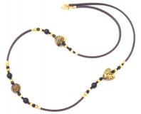 Vac/С540 Колье Золотые сердца на коже 80см муранское стекло