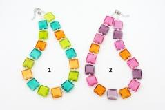 Vac/C5102(2) Колье Оттепель 51+4см 2 цвета муранское стекло