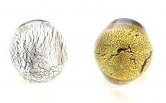 NV31a Кольцо круглое маленькое с золотом или серебром муранское стекло