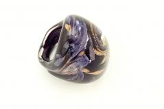 PM114-a Кольцо синий авентурин муранское стекло