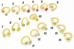 art.45(1) Кольцо Цветок и страз на гнущейся основе муранское стекло