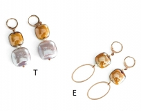 GM0022 Thetis Серьги -Е- цвет роза-топаз муранское стекло