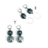 GM0022 Thetis Серьги -Е- цвет серо-черный муранское стекло