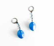 GM004 Soranzo Серьги цвет серо-голубой муранское стекло